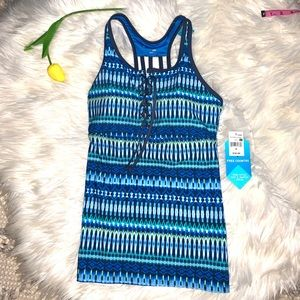 Free Country Racerback Lace Up Tankini Small